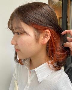 オレンジインナーカラー♪